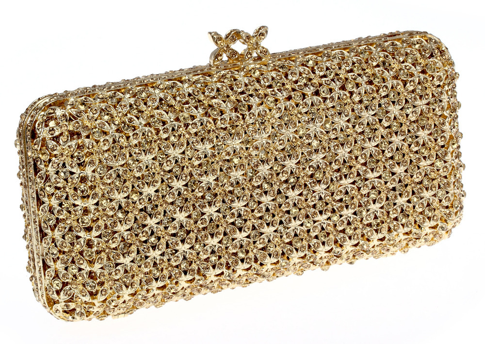 Free Shipping Hot Selling New Design Deluxe Oval Shape Ladies Evening Party Clutches Full Crystals Metal Women Purse Gold Plated(China (Mainland))