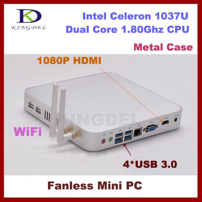 Hot selling mini pc 4G RAM+32G SSD fanless Intel Celeron 1037U Dual Core 1.8GHz,4*USB 3.0, 3D game computer,HDMI,WIFI dhl free(China (Mainland))