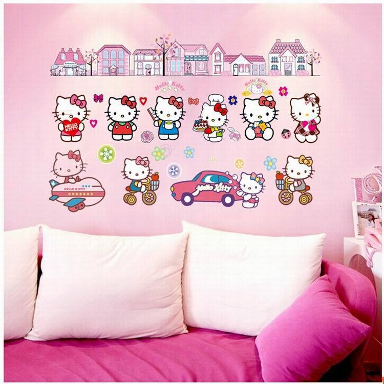 The new factory wholesale stickers exquisite decorative wall stickers are real children Hello Kitty DF9908(China (Mainland))