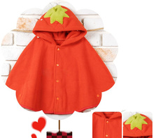 New design fashion baby girls boys cute strawberry duck cloak lovely kids clothes children's single fleece clothing 5pcs/lot(China (Mainland))
