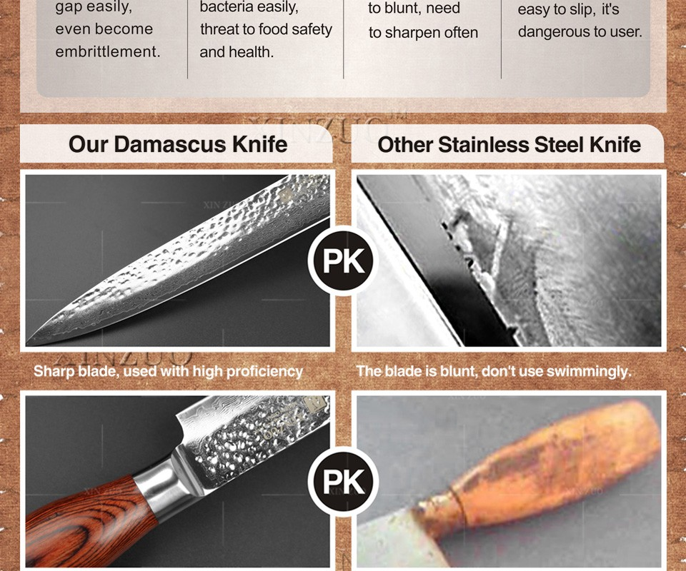 "Buy 2016 Newest 8"" cleaver knife 73 layers Japan Damascus steel kitchen knife / mean knife with Color wood handle free shipping cheap"