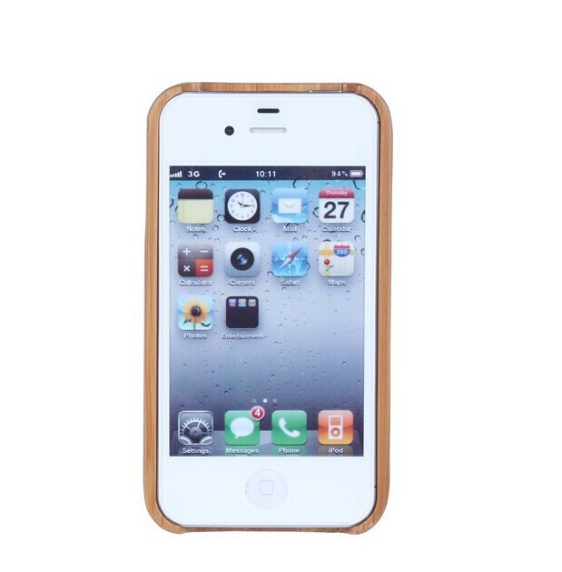Arrvail Fashion Genuine Bamboo Wood Shell Cover Wooden Case Carving Natural Back Iphone 4 4S - Protected Mode store