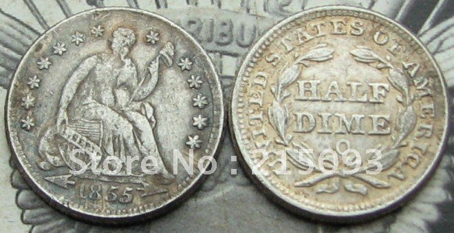 1855-O Seated Liberty Half Dime Arrows at Date COPY FREE SHIPPING(China (Mainland))