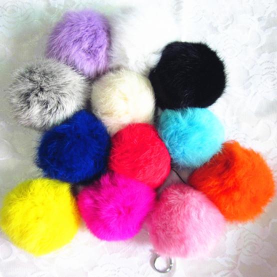 12 Colors New 8cm Big Geniune Rabbit Fur Quality Soft Fur Balls Silver Keyrings Tag KeyChain Keyfob fashion accessories(China (Mainland))