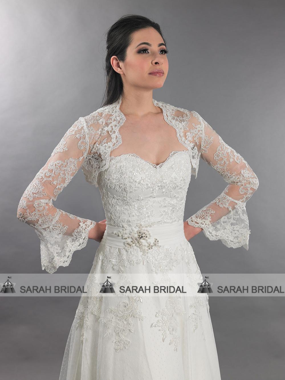 2015 hot sale luxury long sleeve lace wedding wraps jacket for White bolero for wedding dress