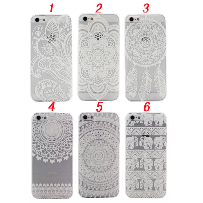 iPhone 5 5S SE 6 6S 7 Plus Mandala Flower Henna Floral Paisley Clear Plastic Case  -  N-Game LIMITED store