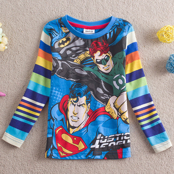 Free shipping high quality 5pcs/lot 100% cotton cartoon justice teague pattern boy's long sleeve T-shirts for boys