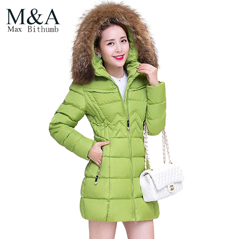 2015 large fur collar wadded jacket women's medium-long slim down cotton-padded jacket winter coat women plus size(China (Mainland))