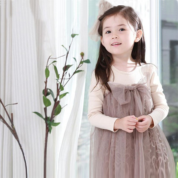 Kids Girls Tulle Lace Dress Children Girls One Piece Dress Lovely Bow-knot Tutu Dress Long Sleeves Casual Dress  1-7Y(China (Mainland))