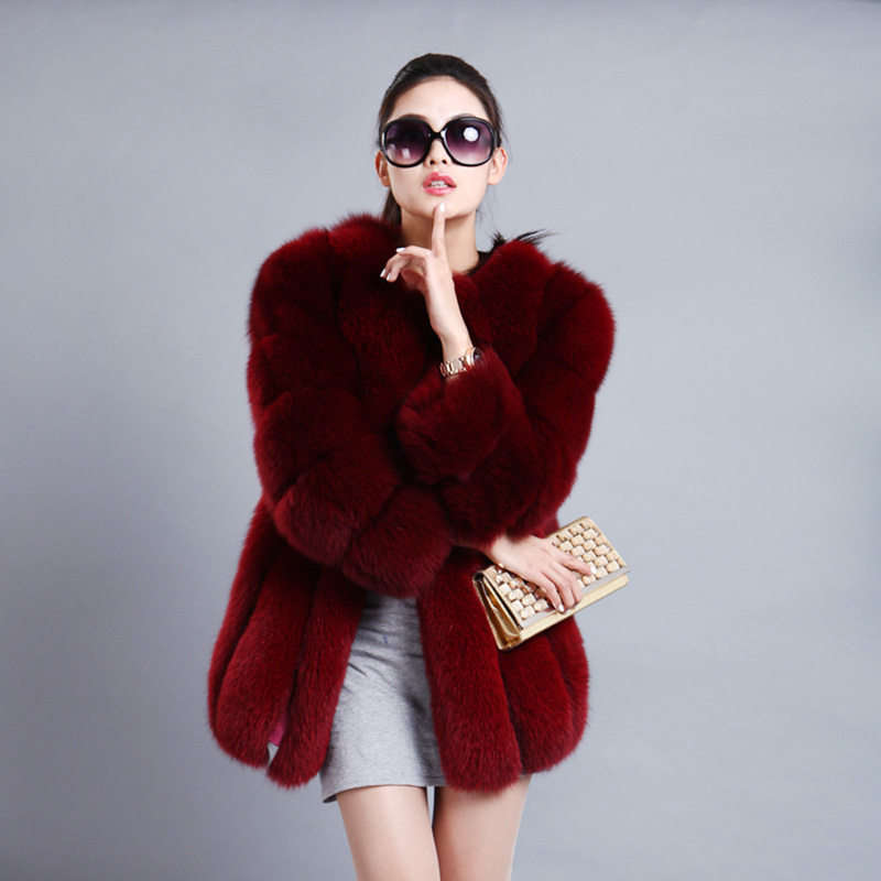 Women's Coat Real Fox Fur Outwear Elegant Winter Warm Coat Long Style Fashion Jacket Waistcoat Bars Lines Tops Hot Sale V-009(China (Mainland))