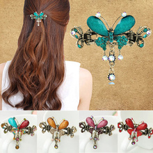 Buy Retro Vintage Women Girl Crystal Butterfly Bow Flower Court Hairpins Drop Barrettes Luxury Tiara Hair Clip Hair Accessories for $1.04 in AliExpress store
