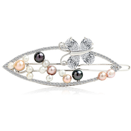 Elegant Girl Soft Pearl Short Bride Barrettes Hair Accessory with AAA Cz Crystal Head Bands Women Jewelry Hair Decoration(China (Mainland))