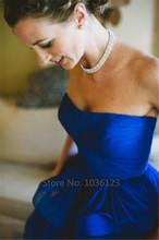 Vestidos de noiva 2015 Royal Blue Wedding Dresses Women Summer Long Elegant Handmade Boat Neck Spring