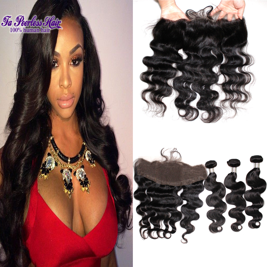 13X4 malaysian virgin hair body wave with frontal closure 7a human hair lace frontal closure with baby hair queen hair store