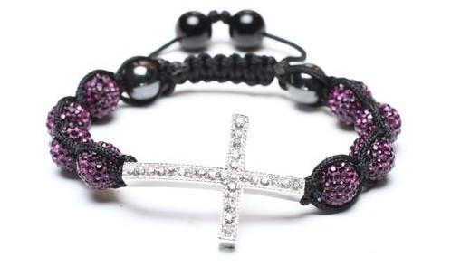 8 bead + cross Shamballa jewelry Wholesale purple Hip Hop Cross Beads Shamballa Bracelet bangle G1455g