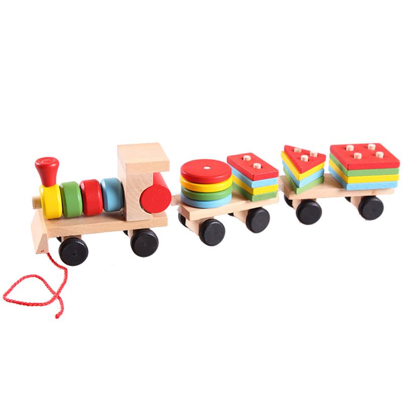 Free Shipping Educational Kid Baby Wooden Solid Wood Stacking Train Toddler Block Toy K5BO(China (Mainland))