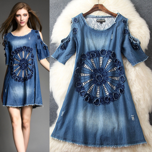 Summer 2015 runway dress women's high quality brand dresses fashion off shoulder embroidery casual mini dress(China (Mainland))