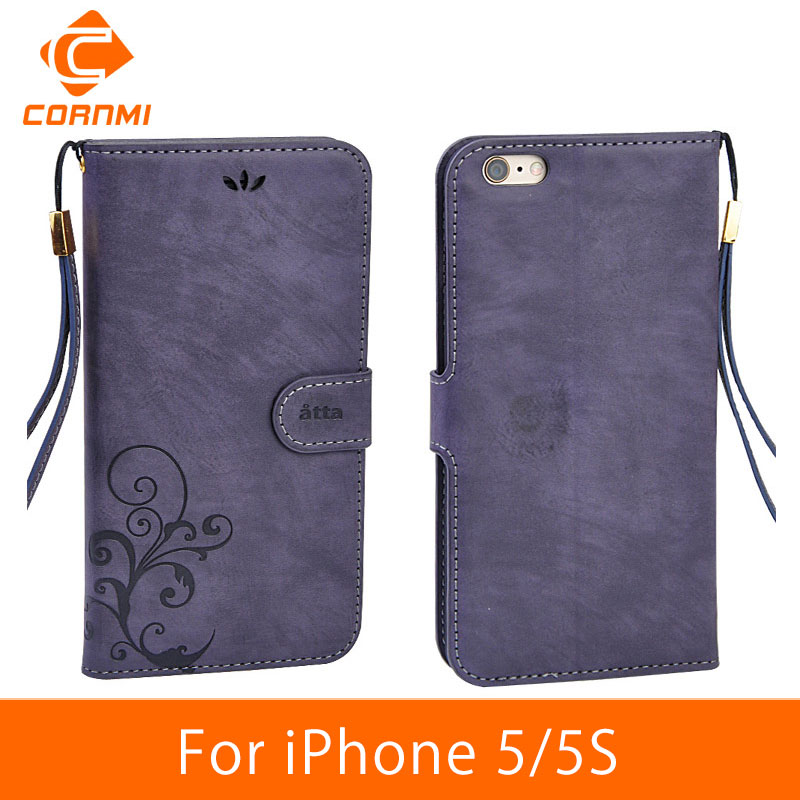 CORNMI For iPhone 5 5S SE Case Cover Leather Flip Vintage Luxury Phone Cases For Apple iPhone 5S Wallet Case Card Stand Housing(China (Mainland))