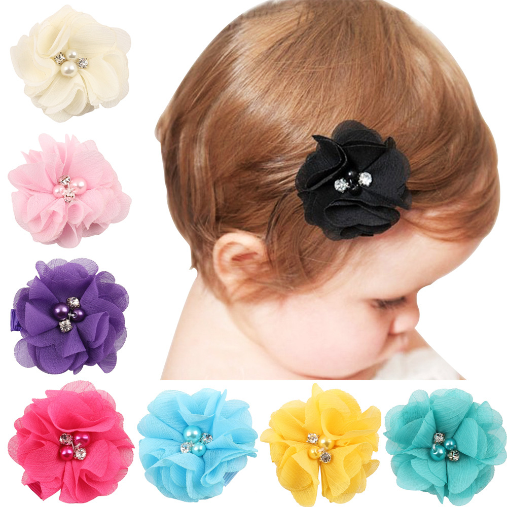 Hot Sale Summer Style chiffon Wraped Clip Barrettes Solid Flower Children Hair Accessories Infant Hairpins Baby Hair Clips(China (Mainland))