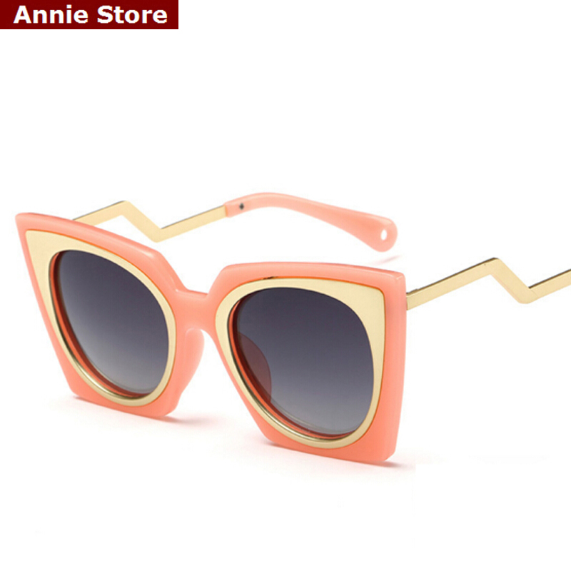 wholesale Vintage brand sunglasses for kids in girls 2016 fashion metal cat eye polarized sunglasses for children orange green