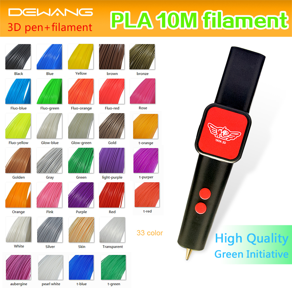 New YaYa 3D printer pen with 33 Colors 10 metre PLA filament 3d pen(China (Mainland))