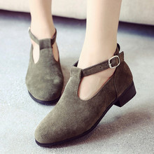 2016 Fall New England Round Buckle Matte Pickup Color T Shoes Fashion 3CM Thick Waterproof Single Women 35-39 - Happy little urchin store