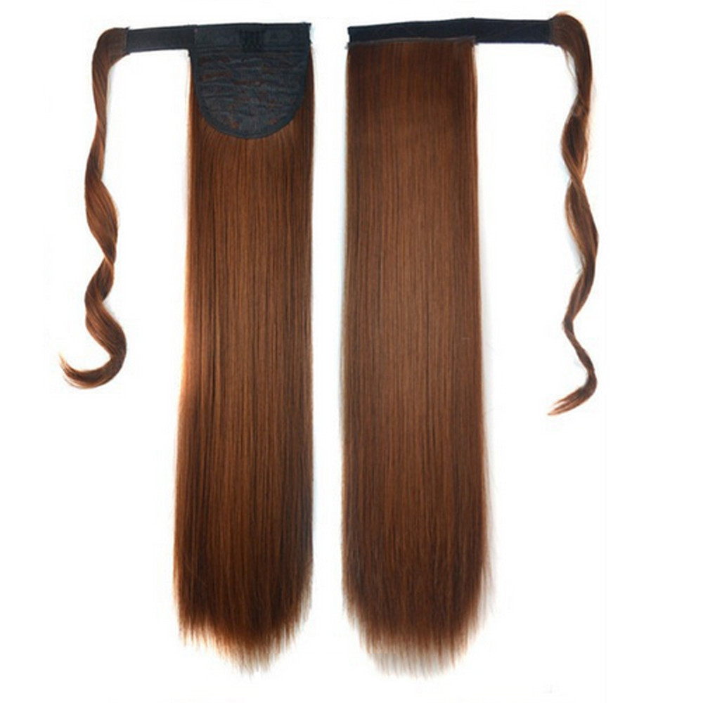 kai yunly 1PC New Fashion Real Clip In Human Hair Extension Straight Pony Tail Wrap Around Ponytail B Oct 26