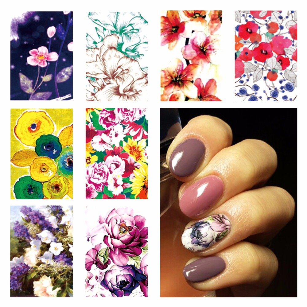 FWC Hot DIY Designs Nail Art Beauty Flower Water Stickers Nails Decoration Decals Tools(China (Mainland))