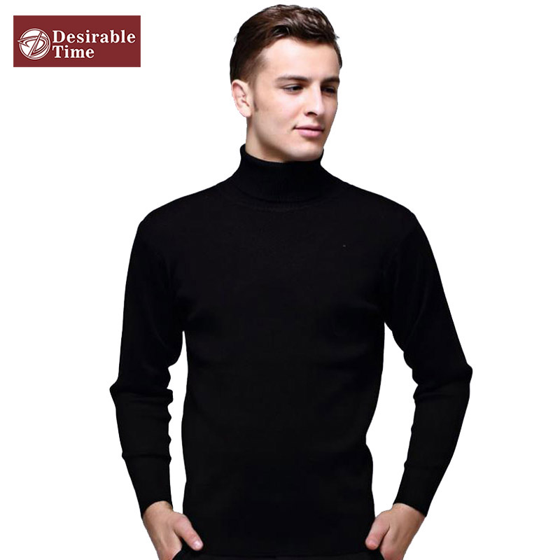 Mens Black Wool Turtleneck Sweater Slim Fit Solid Men Knit Cashmere Pullovers And Sweaters For Men Size S-2XL C1990(China (Mainland))
