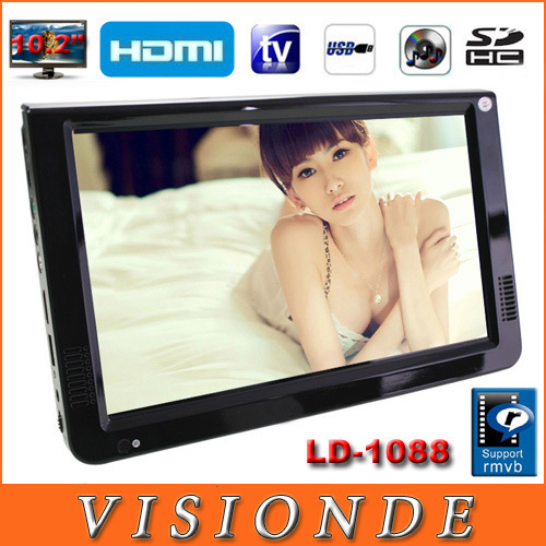 """2014 NEW LEADSTAR Televisions Portable TV 10.2"""" LED TFT Portable Multimedia Player With HDMI /VGA /USB /SD,U DISK/TV Tuner(China (Mainland))"""
