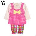 7 24M Baby Girls Clothing Set Thin Fabric Toddler Girl Clothes Set Plaid Long Sleeve T