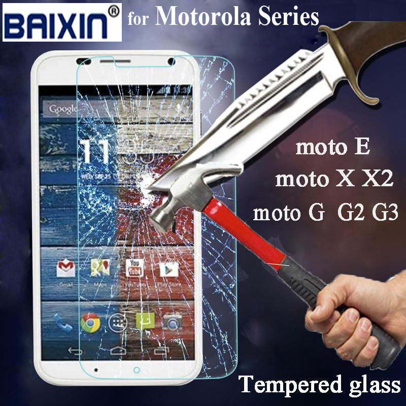 0.3MM 2.5d HD For Motorola MOTO G G2 G3 E X X2 X+1 Tempered Glass Screen protector protective film front with clean kits(China (Mainland))