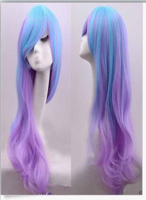 FS wigs 2015 synthetic wig lolita cos girl wavy gradual blue and purple mixed color hairs 24'' medium long body wave hair(China (Mainland))