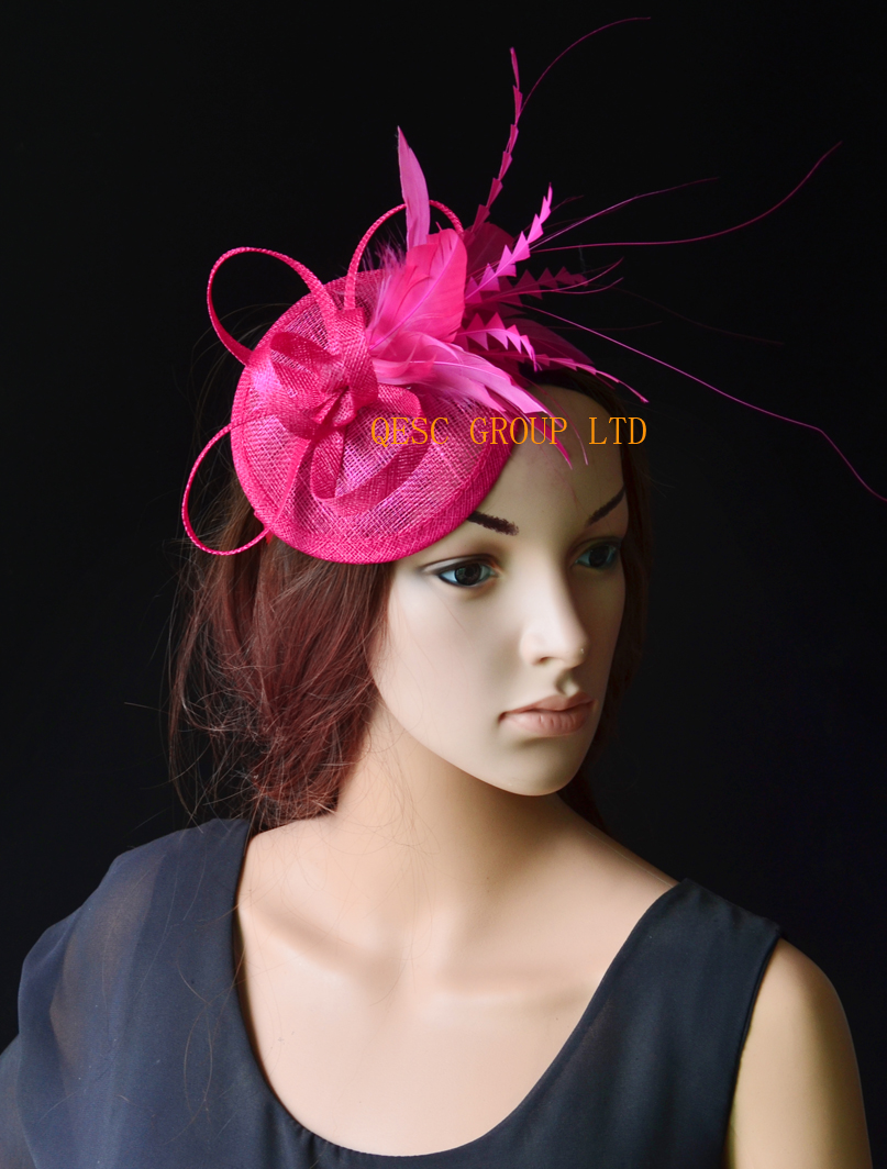 Hot pink fuchsia Feather fascinator sinamay fascinator hat for Wedding,Races kentucky derby.(China (Mainland))