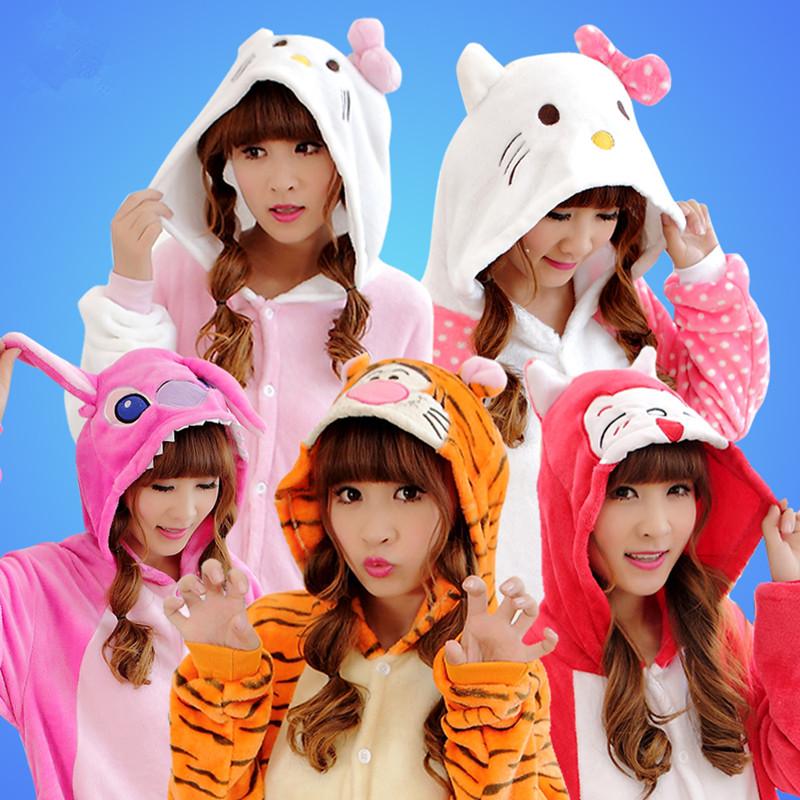 Cheap On Sale Winter Flannel Adult Women Men Animal Rilakkuma Pink Stitch Kitty Cat Pajamas Kigurumis Onesie Cosplay Costume(China (Mainland))