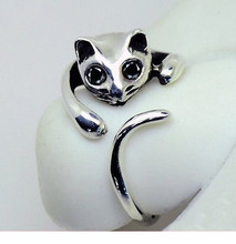 New Fashion Free Shipping 2015 Cute Silver Cat Shaped Ring With Rhinestone Eyes Adjustable and Resizeable R52
