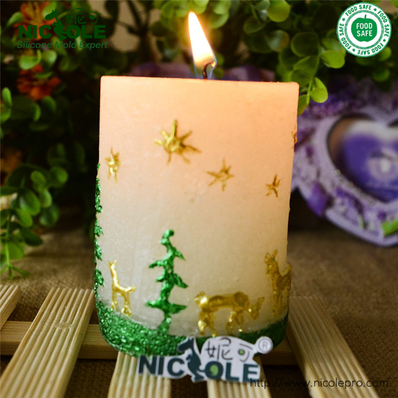 Free Shipping Small Size Tree And Fawn Cylindrical Handmade Candle Mold(China (Mainland))