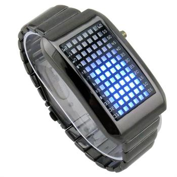 Retail Binary Iron LED Watch for Men/Black Silver Stainless Steel Wristwatches/Hot Selling Fashion Digital Watches LED022