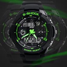Caliente s-shock relojes hombres marca de lujo deporte militar llevó el reloj digtial 2 time zone volver light cronógrafo correa de silicona de natación 30 M