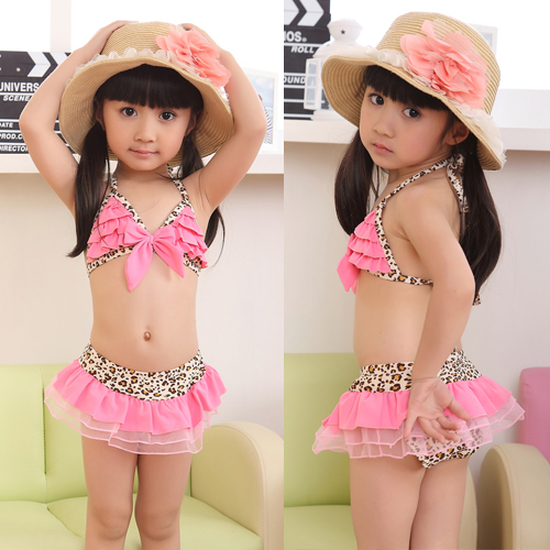 Leopard Bikini Top&amp;Bottom w/Hat Beachdress Girls Swimsuit Kids Swimwear 1-7 Year for free shipping and drop shipping<br><br>Aliexpress