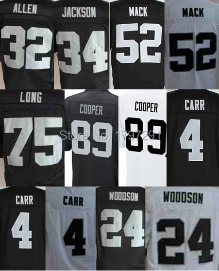 cheap stitched sport Oakland mens football 89 Amari Cooper Khalil Mack Bo JACKSON charles woodson Derek Carr Howie Long jersey(China (Mainland))