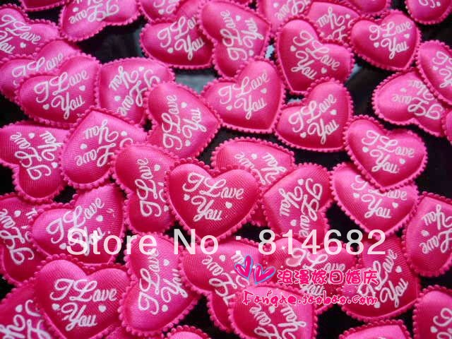 """Free Shipping Wholesale 3cm Red Fabric Heart With """"I Love You"""" Heart Wave Fringe For Wedding Decoration(China (Mainland))"""