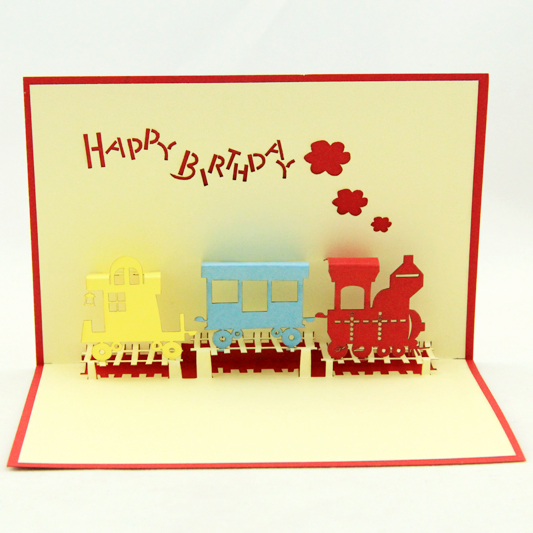 2014 new year laser cut invitations novelty child train toy happy birthday 3d pop cards decoupage card envelope - Ivy trade company ltd store