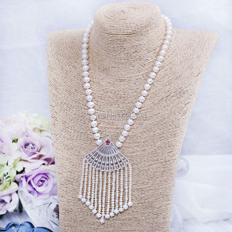 Value handmade custom zircon fan tassel sweater chain bead light Steamed buns pearl necklace jewelry(China (Mainland))