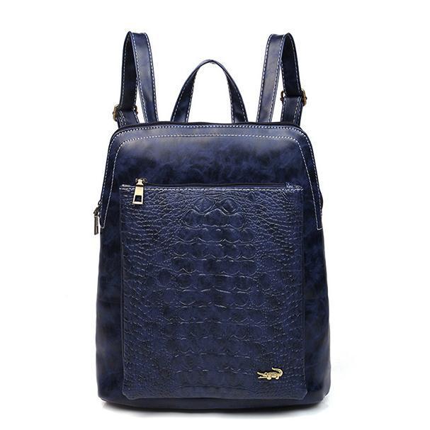 Korean women Crocodile pattern backpack fashion solid color pu leather ladies casual backpacks bolsas Rucksack bp0710<br><br>Aliexpress