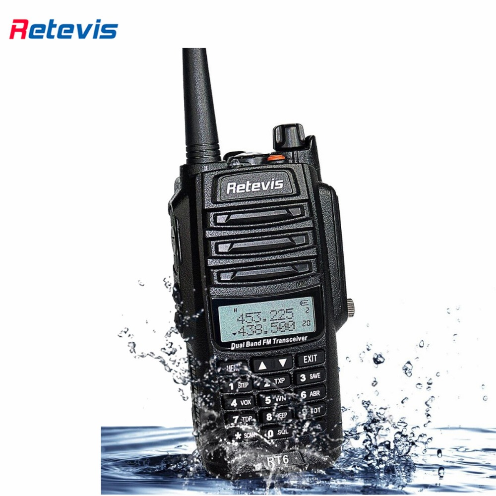 Waterproof IP67 Retevis RT6 Walkie Talkie 5/3/1W VHF+UHF136-174+400-520Mhz Ham Radio Hf Transceiver Two Way Radio A9114A(China (Mainland))
