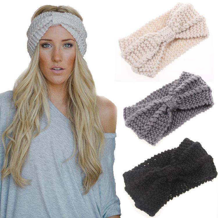 2015 New 13 Colors Women Twist Crochet Head wrap Headbands Knit Bow Headwrap Turban Accessories 1PC Free Shipping TD19(China (Mainland))