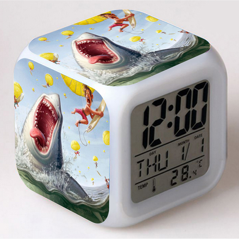 27 Patterns For Choice 7 Colors Light Digital LED Cube Alarm Clock For Night Light(China (Mainland))