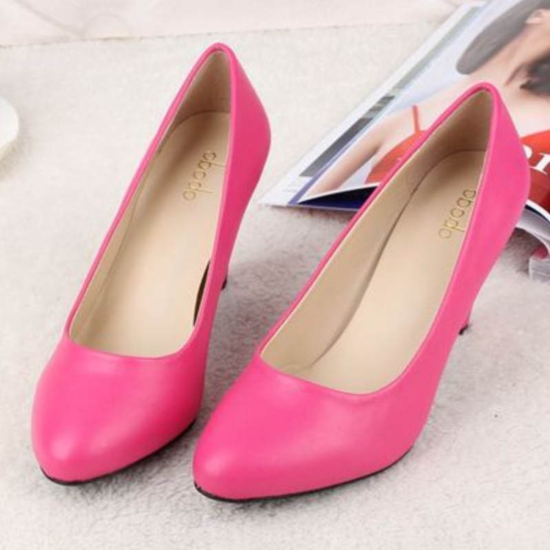 Women pumps spring autumn Single shoes black thick middle heels women leather formal work fashion - JIUJIU Store store