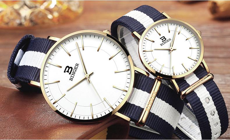 Швейцария БИНГЕР женщины часы люксовый бренд ультратонкий ограниченным тиражом Водонепроницаемый любителей кварцевые Наручные Часы B-3050W-2
